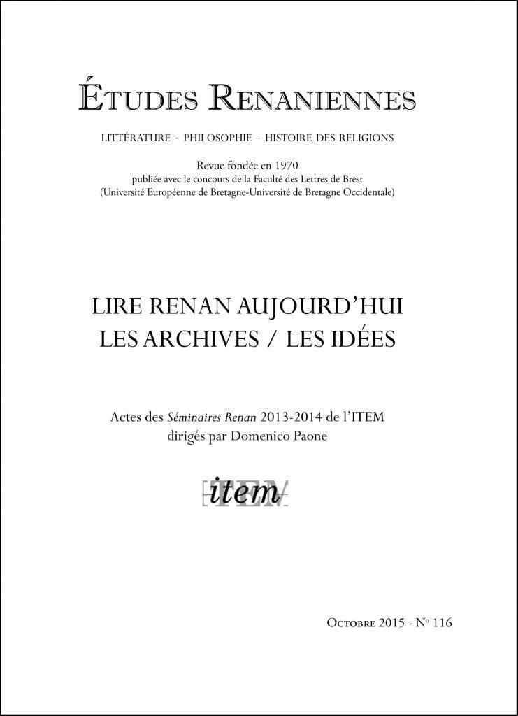 Études Renaniennes n° 116 (oct. 2015) sous la direction de Domenico Paone