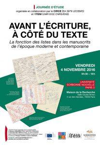 Avant l'écriture, à côté du texte : la fonction des listes dans les manuscrits de l'époque moderne et contemporaine