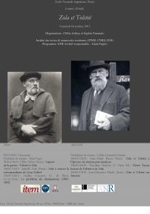 Journée d'étude «Zola et Tolstoï» – Paris – 18 octobre 2013