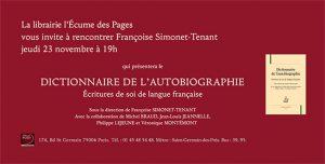 Présentation du Dictionnaire de l'autobiographie. Ecritures de soi de langue française.