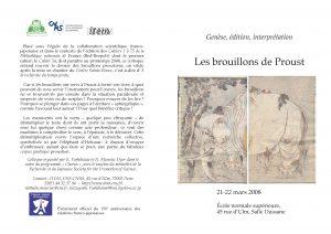 Colloque « Genèse, édition, interprétation : les brouillons de Proust »