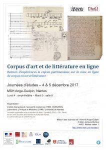 Corpus d'art et de littérature en ligne : Retours d'expériences & enjeux patrimoniaux sur la mise en ligne de corpus en art et littérature