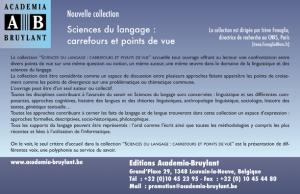 """Nouvelle collection """"Sciences du langage : carrefours et points de vue"""""""