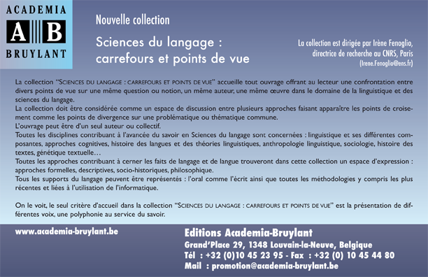"Nouvelle collection ""Sciences du langage : carrefours et points de vue"""