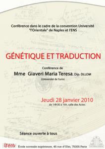 Maria Teresa Giaveri, «Génétique et Traduction»