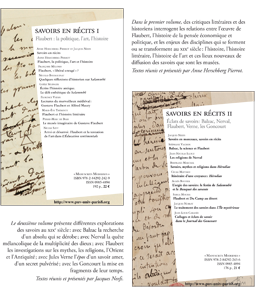 P.U.V.nouvelles parutions, Anne Herschberg Pierrot et Jacques Neefs: «savoirs en récits I», «savoirs en récits II»