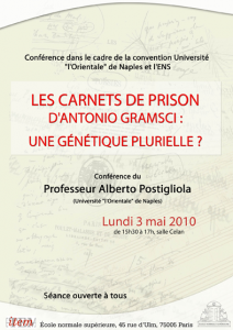 Alberto Postigliola : «Les carnets de Prison d'Antonio Gramsci : Une génétique plurielle?»