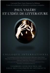 Colloque international :»Paul Valéry et l'idée de littérature»