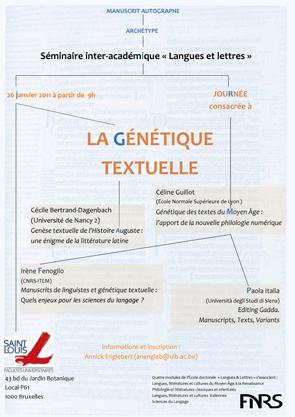 Journée consacrée à la Génétique textuelle