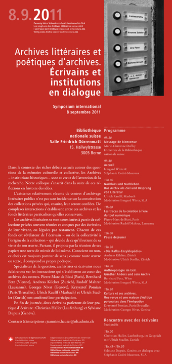 Symposium international : Archives littéraires et poétiques d'archives. Écrivains et institutions en dialogue