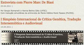 Entrevista com Pierre-Marc De Biasi…
