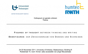 Colloque de critique génétique : «Figures of Thought:Between thinking and writing»