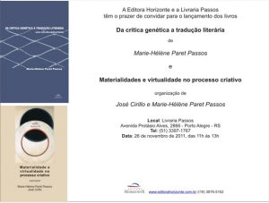 Publications brésiliennes : Marie-Hélène Paret Passos, «Da critica genetica a traduçao literaria». Marie-Hélène Paret Passos e José Cirillo,  «Materialidades e virtualidade no processo criativo»