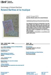 Hommage à Roland Barthes : Roland Barthes et la musique