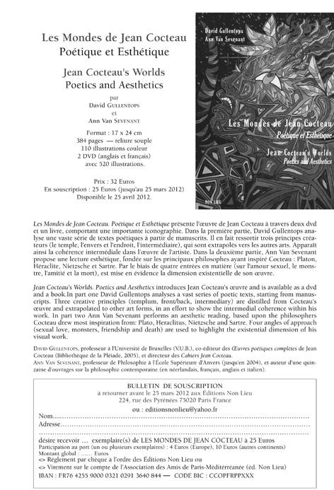 David Gullentops et Ann Van Sevenant, Les Mondes de Jean Cocteau. Poétique et Esthétique.