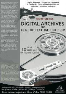 Thorsten Ries : Digital Archives and Genetic Textual Criticism