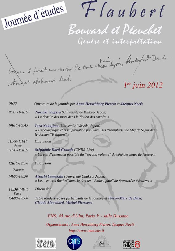 Journées d'études : «Bouvard et Pécuchet» : genèse et interprétation