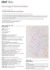 Journée d'études Edmond Jabès à la BnF