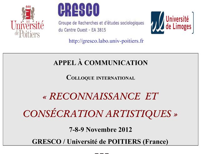 Appel à communication du colloque international «Reconnaissance et consécration artistique»