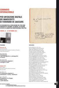 Per un'edizione digitale dei manoscritti di Ferdinand de Saussure