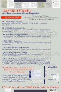 Observatoire 1 : Archives et manuscrits de linguistes