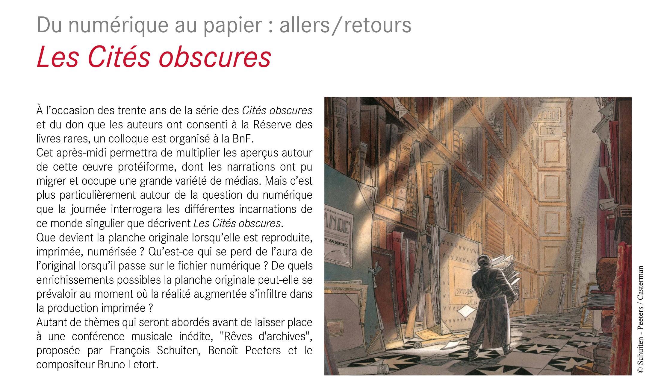 Du numérique au papier : allers/retours. Les Cités obscures