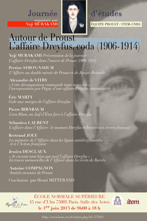 Journée d'étude » Autour de Proust : L'affaire Dreyfus, coda (1906-1914)»