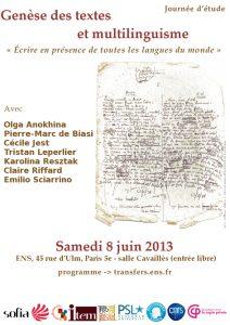 Genèse des textes et multilinguisme : «Ecrire en présence de toutes les langues du monde»