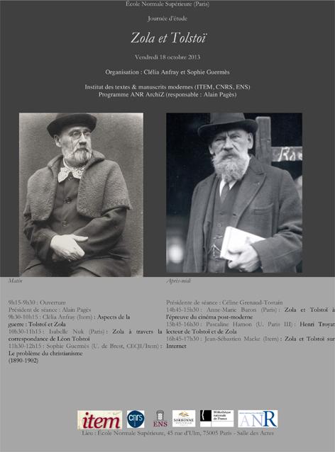 Journée d'étude : Zola et Tolstoï