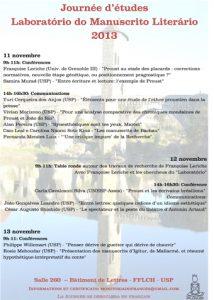 Journée d'études : «Laboratório do Manuscrito Literário 2013»