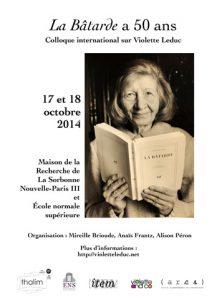 Colloque international sur Violette Leduc  : «La Bâtarde a cinquante ans»