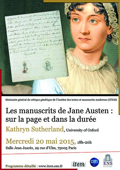 Séminaire général de l'ITEM. Kathryn Sutherland, «Les manuscrits de Jane Austen : sur la page et dans la durée»