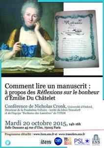 Nicholas Cronk (Université d'Oxford) : Comment lire un manuscrit : à propos des «Réflexions sur le bonheur» d'Émilie Du Châtelet