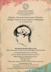 Philologie et genèse des textes littéraires et philosophiques/ Filologia e Genesi dei Testi Letterari e Filosofici