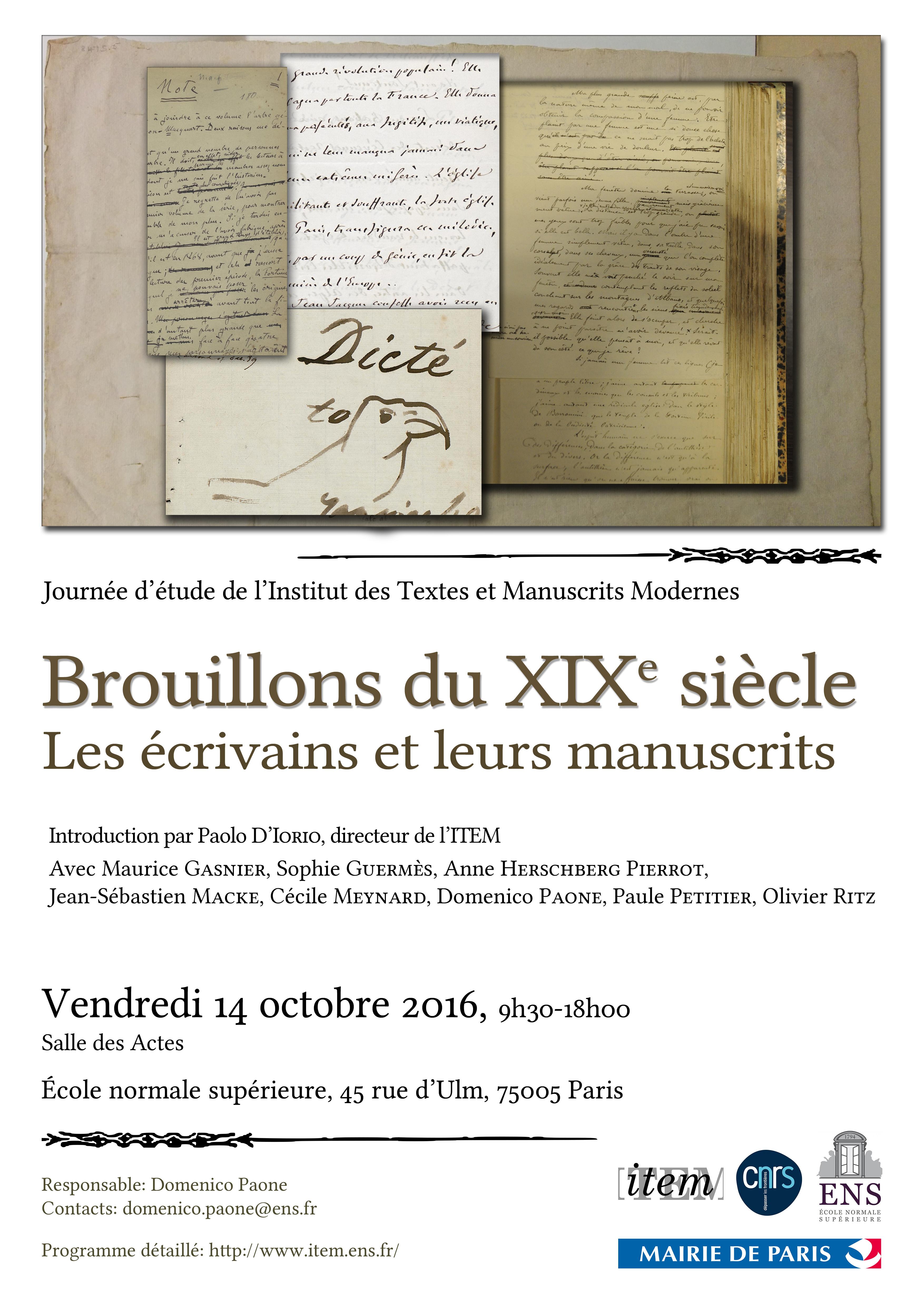 Journée d'études : «Brouillons du XIXe siècle : les écrivains et leurs manuscrits»
