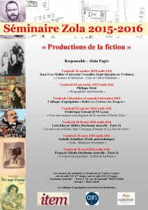 Séminaire Zola 2015 – 2016 – « Productions de la fiction »
