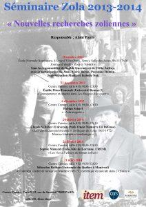 Zola. «Nouvelles recherches zoliennes» / 2013 – 2014