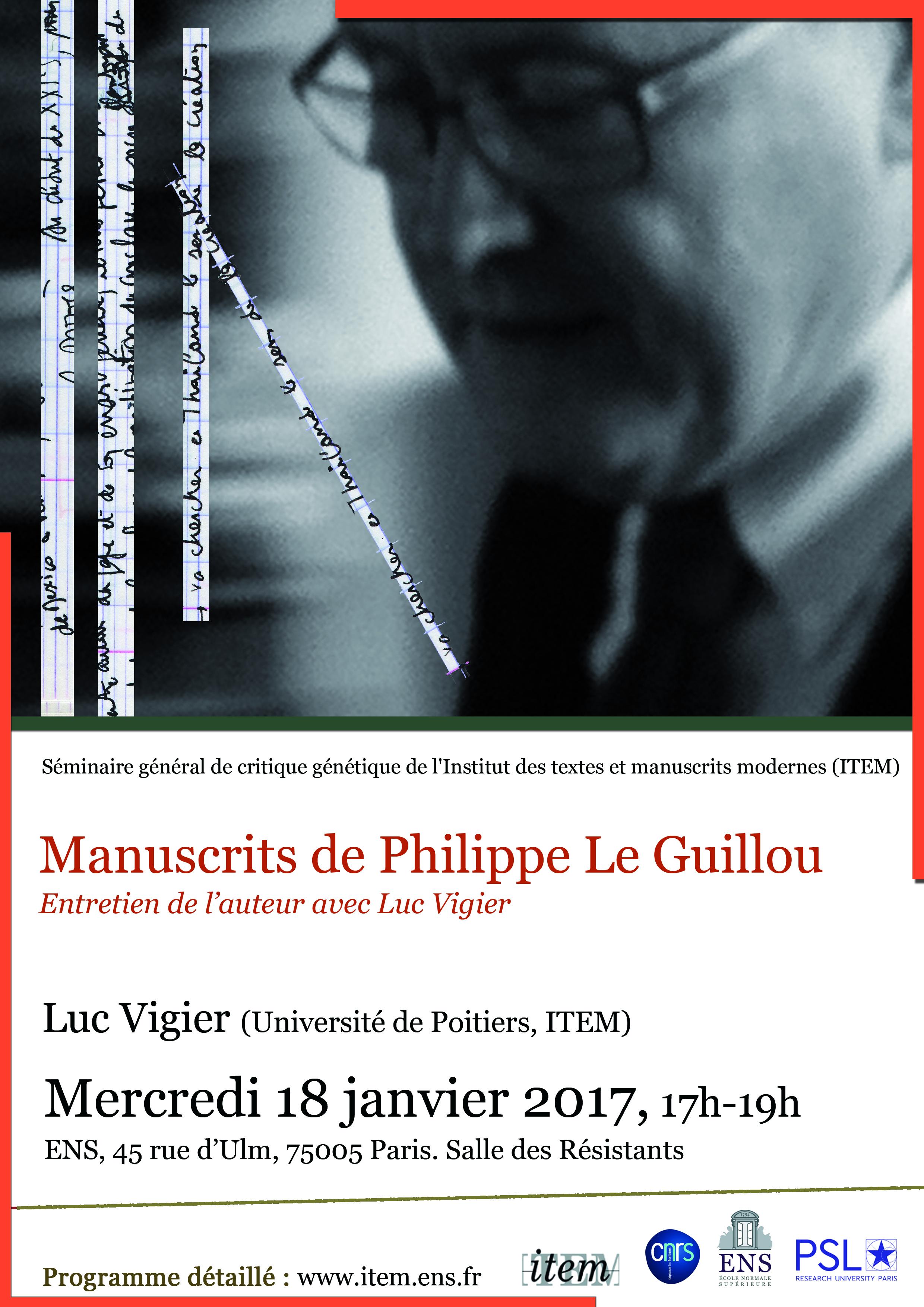 Luc VIGIER « Manuscrits de Philippe Le Guillou. Entretien de l'auteur avec Luc Vigier »