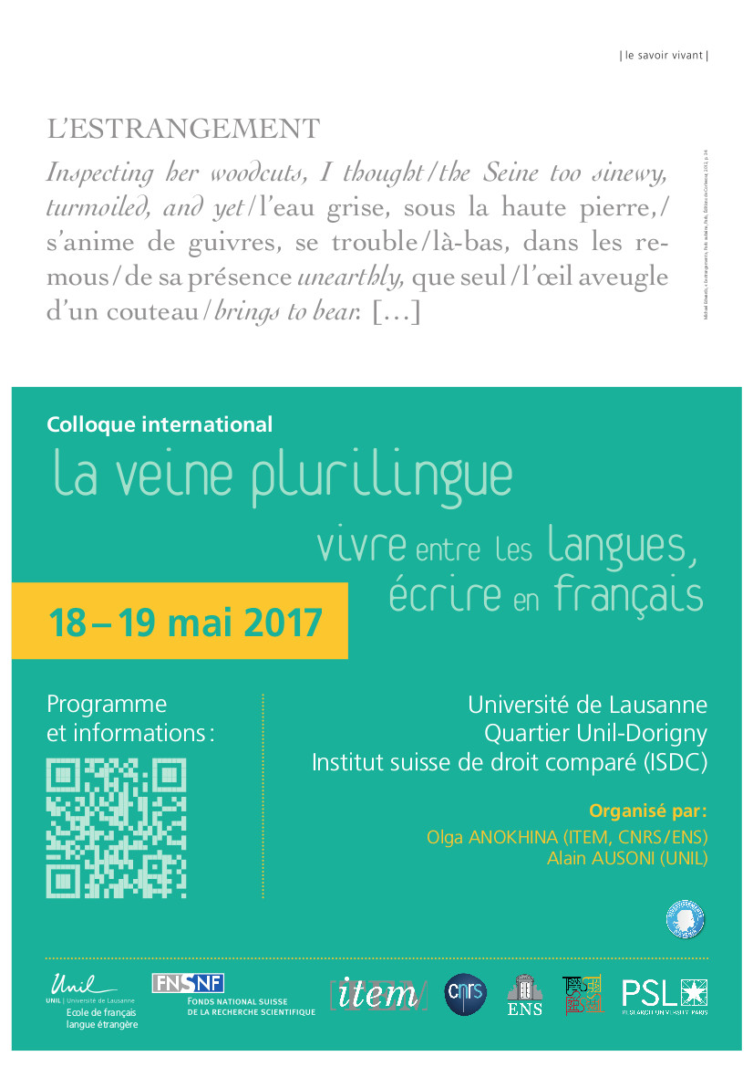 La Veine plurilingue: vivre entre les langues, écrire en français
