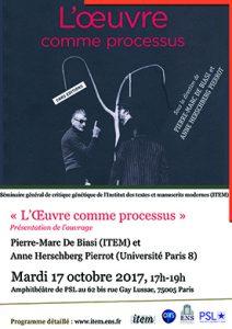 Pierre-Marc DE BIASI (ITEM), Anne HERSCHBERG PIERROT (Université Paris VIII) : «L'Œuvre comme processus»