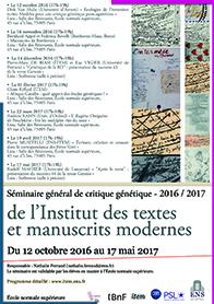 Séminaire général de critique génétique de l'ITEM / 2016-2017
