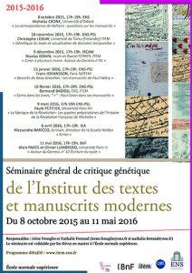 Séminaire général de critique génétique / 2015-2016
