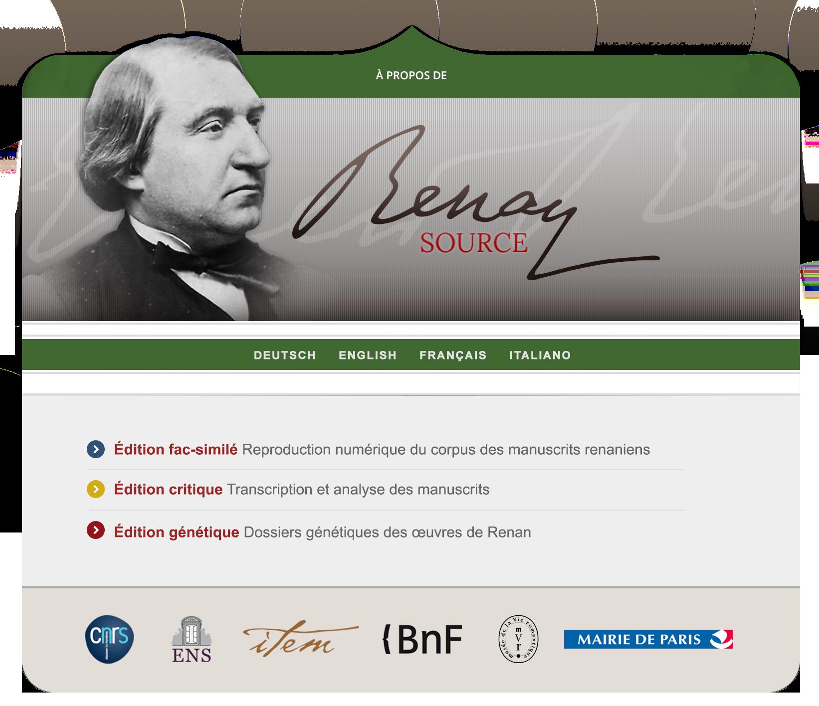 Projet « Renan Source ». Une édition numérique des manuscrits d'Ernest Renan