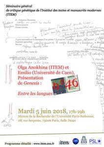 Olga Anokhina (ITEM) et Emilio Sciarrino (Université de Caen), Présentation du numéro 46 de Genesis : «Entre les langues»
