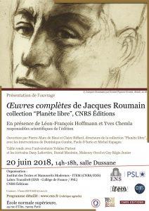 Présentation des Œuvres complètes de Jacques Roumain, 20 juin 2018, ENS Paris