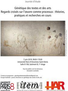 Journée d'étude : Génétique des textes et des arts : regards croisés sur l'oeuvre comme processus, théories, pratiques et recherches en cours