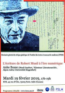 Anke Bosse (Musil-Institut / Kärntner Literaturarchiv, Alpen-Adria-Universität Klagenfurt) : «L'écriture de Robert Musil à l'ère numérique»