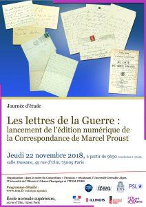 Journée d'étude «Les lettres de la Guerre : lancement de l'édition numérique de la Correspondance de Marcel Proust»