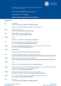 «La création en suspens». Colloque de Pierre-Michel MENGER, Collège de France.