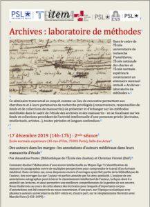 Amandine Postec (Bibliothèque de l'ENC), Christian Förstel (BNF): Des auteurs dans les marges : les annotations d'auteurs médiévaux dans leurs manuscrits d'étude